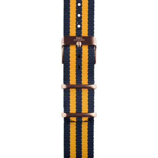 20mm | NATO Yellow / Navy | English Rose Gold buckle
