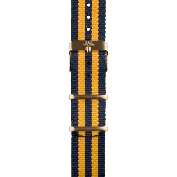 20mm | NATO Yellow / Navy | Gold buckle