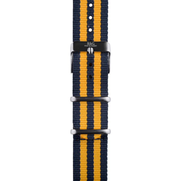 20mm | NATO Yellow : Navy | Silver buckle