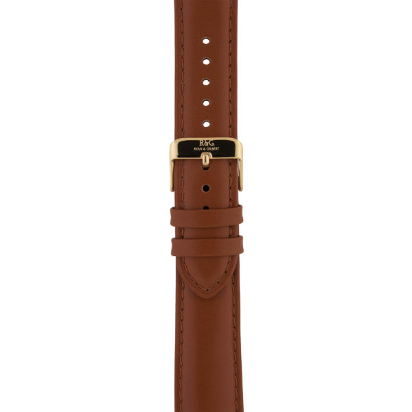 20mm | Tobacco Watch strap with Stitching | Gold Buckle