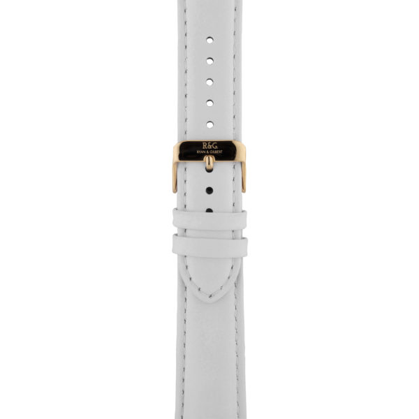 20mm | White Watch strap with stitching | Gold Buckle
